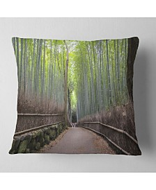 "Designart Arashiyama Bamboo Path Japan Forest Throw Pillow - 18"" x 18"""