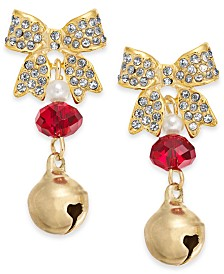 Holiday Lane Gold-Tone Pavé Bow & Bell Drop Earrings, Created For Macy's