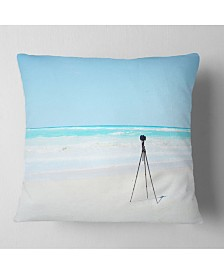 "Designart Digital Camera and Tripod on Beach Landscape Wall Throw Pillow - 18"" x 18"""