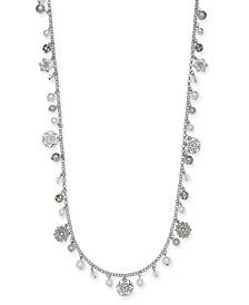 "Silver-Tone Pavé & Imitation Pearl Snowflake 36"" Strand Necklace, Created For Macy's"