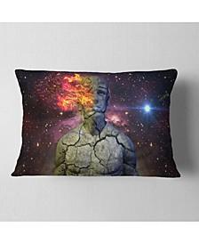 "Designart Broken Human Body with Fire Contemporary Throw Pillow - 12"" x 20"""