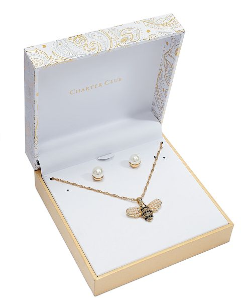 """Charter Club Gold-Tone Pavé and Imitation Pearl Bumblebee Pendant Necklace & Stud Earrings Set, 17"""" + 2"""" extender, Created For Macy's"""