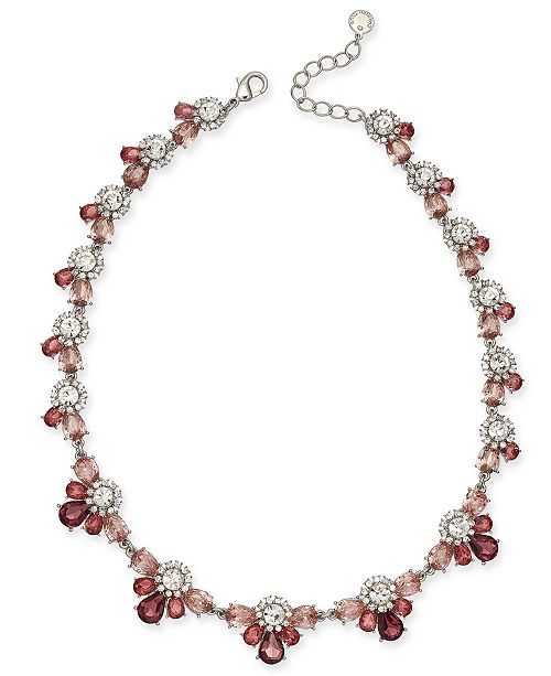 "Charter Club Silver-Tone Crystal & Stone Collar Necklace, 17"" + 2"" extender, Created For Macy's"