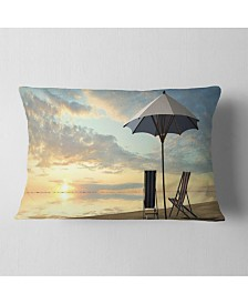 "Designart Deck Chairs and Umbrella on Beach Modern Seascape Throw Pillow - 12"" x 20"""