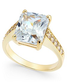 Gold-Tone Large Emerald-Cut Crystal Ring, Created For Macy's