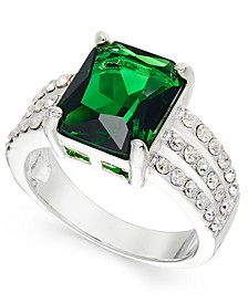 Silver-Tone Emerald-Cut Crystal Triple-Row Ring, Created for Macy's