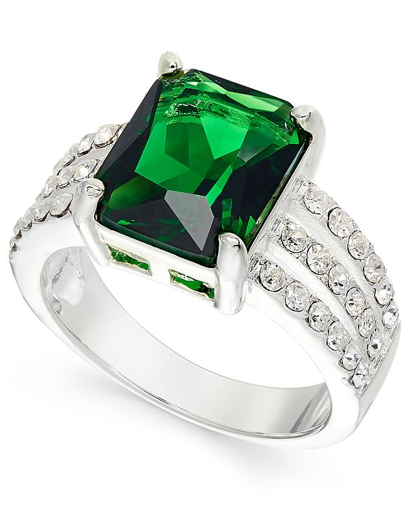 Charter Club Silver-Tone Emerald-Cut Crystal Triple-Row Ring, Created for Macy's