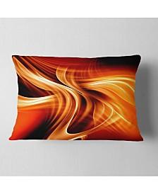 "Designart Orange Abstract Warm Fractal Design Abstract Throw Pillow - 12"" x 20"""