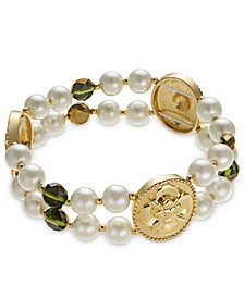 Gold-Tone Imitation Pearl & Green Bead Two-Row Stretch Bracelet, Created for Macy's