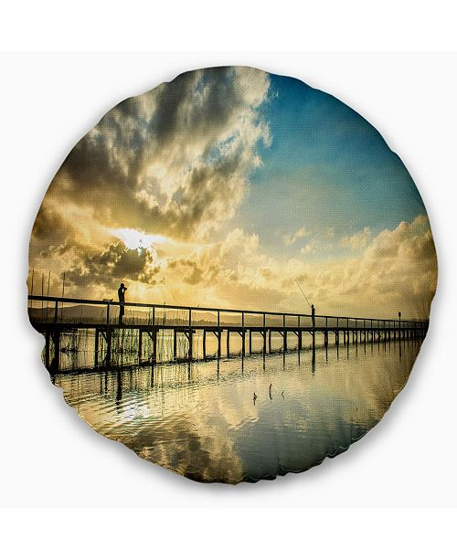 Design Art Designart Long Jetty Foreshore Reserve With Clouds Sea Bridge Throw Pillow 16 Round Reviews Decorative Throw Pillows Bed Bath Macy S