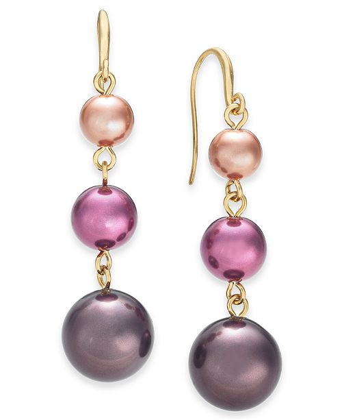Charter Club Gold-Tone Imitation Pearl Graduated Linear Drop Earrings, Created For Macy's