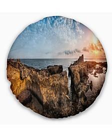 """Bright African Seashore Panorama Oversized Beach Throw Pillow - 16"""" Round"""