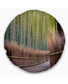 """Designart Pathway Inside Bamboo Forest Forest Throw Pillow - 16"""" Round"""