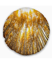 """Designart Autumn Bamboo Grove in Yellow Oversized Forest Throw Pillow - 16"""" Round"""