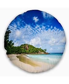 "Designart Seychelles Tranquil Tropical Beach Modern Seascape Throw Pillow - 16"" Round"