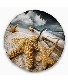 "Message Bottle Buried in Sand Seascape Throw Pillow - 16"" Round"