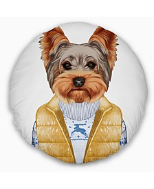"Designart Terrier in Down Vest and Sweater Animal Throw Pillow - 16"" Round"