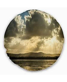 "Designart Heavy Clouds over Foreshore Reserve Seashore Throw Pillow - 20"" Round"