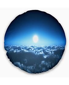 "Designart Night Flight above Clouds Landscape Printed Throw Pillow - 20"" Round"