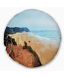 """Tranquil Coastline with Waves Oversized Beach Throw Pillow - 20"""" Round"""