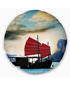 "Designart Large Chinese Sailing Ship Seashore Throw Pillow - 20"" Round"