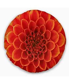 "Designart Orange Abstract Flower Petals Floral Throw Pillow - 20"" Round"