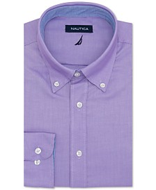 Nautica Mens Classic Fit Comfort Stretch Wrinkle Free Solid Dress Shirt