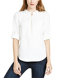 Kaiko Zip-Front Roll-Tab-Sleeve Top
