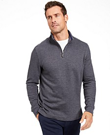 Men's Quarter Zip French Rib Pullover Sweater, Created for Macy's