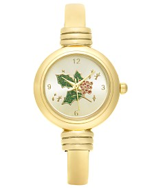 Holiday Lane Women's Gold-Tone Cuff Bracelet Watch 28mm, Created For Macy's
