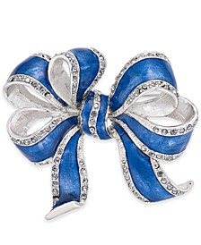 Silver-Tone & Blue Pavé Bow Pin, Created For Macy's