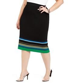 I.N.C. Plus Size Metallic Striped Skirt, Created For Macy's
