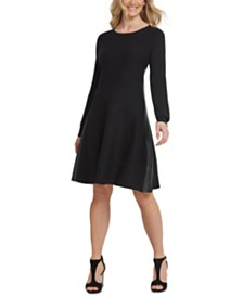 DKNY Faux-Leather-Trim Sweater Dress