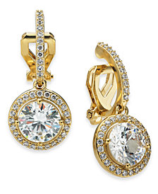 Danori Cubic Zirconia Clip-On Drop Earrings, Created For Macy's
