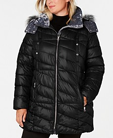 Plus Size Hooded Faux-Fur-Trim Puffer Coat