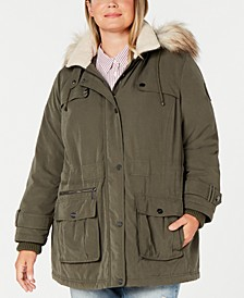 Plus Size Water Resistant Hooded Anorak Coat with Faux-Fur Trim, Created for Macy's