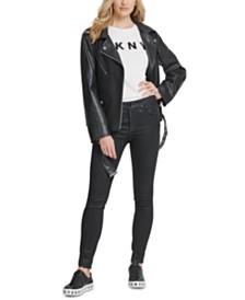 DKNY Belted Mixed-Media Moto Jacket