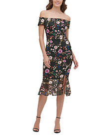 GUESS Off-The-Shoulder Lace Midi Dress