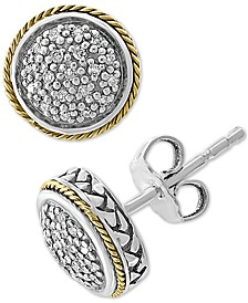 EFFY® Diamond Cluster Stud Earrings (1/6 ct. t.w.) in Sterling Silver & 18k Gold