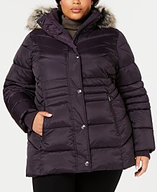 London Fog Plus Size Hooded Faux-Fur-Trim Puffer Coat