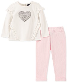 Calvin Klein Little Girls Ruffled Tunic & Leggings Set