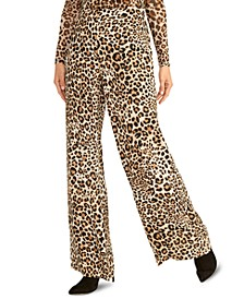 Wide-Leg Cheetah-Print Pants