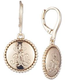 Lauren Ralph Lauren Gold-Tone Logo Drop Earrings