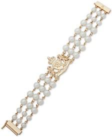 Lauren Ralph Lauren Gold-Tone Crest & Imitation Pearl Triple-Row Flex Bracelet