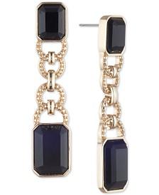 Lauren Ralph Lauren Gold-Tone Studded Link & Stone Drop Earrings