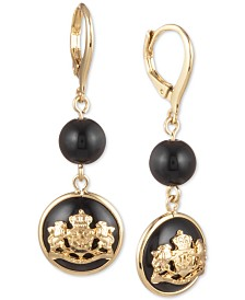 Lauren Ralph Lauren Gold-Tone Crest Double Drop Earrings