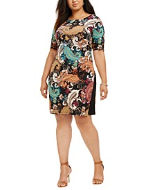 Plus Size Paisley Side-Ruched Dress
