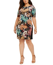 Connected Plus Size Paisley Side-Ruched Dress