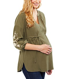 Maternity Embroidered Babydoll Blouse