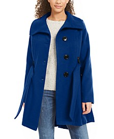 Juniors' Belted Skirted Coat